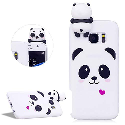 DasKAn Karikatur 3D Panda Silikon Hülle für Samsung Galaxy S7,Rosa Herz Tiere Muster Einfarbig Matt Ultra Dünn Weich Gummi Rückseite Handytasche Stoßfest Flexibel Gel TPU Schutzhülle,Weiß#1