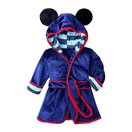 Peignoir de bain doux pour enfant en forme de souris avec motif animal, pyjama pour filles et garçons - Bleu - Large