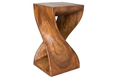 Handelsturm Gedrehter Hocker 50 x 28 x 28 cm, Sitz Blumenständer Tisch massiv Holz Design, Beistelltisch braun