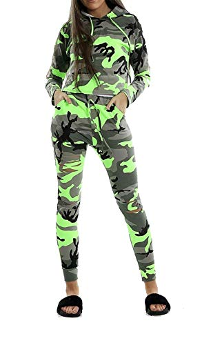 REAL Life FASHION LTD. dames neon camouflage met capuchon top broek Womens lange mouw trui trainingspak