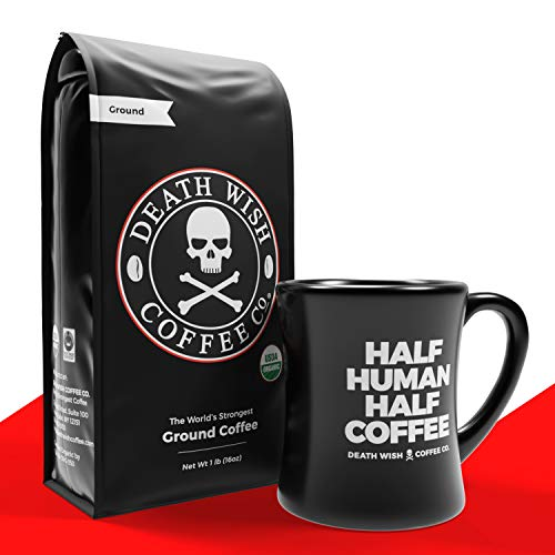 DEATH WISH Ground Coffee - The World's Strongest [1 lb] Bundle with DEATH WISH Ceramic Mug - [14 oz] | Best Gift Set for Coffee Lovers/Addicts