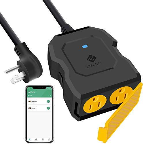 Etekcity ESO15-TB Outdoor Smart Plug WiFi Outlet with 2 Sockets, Works with Alexa & Google Home, Wireless Remote Control, Energy Monitoring & Timer Function, Waterproof, FCC and ETL Listed, Black