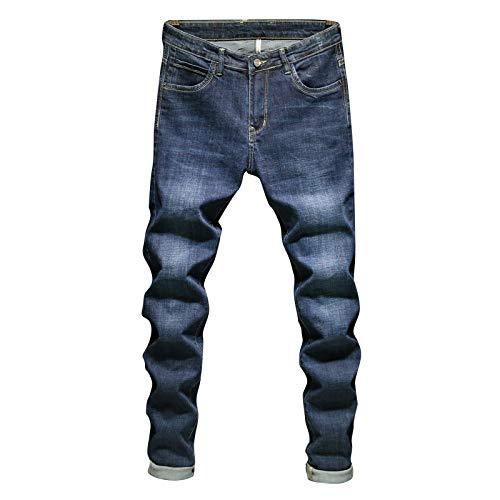 Beastle Pantalones Vaqueros para Hombre Primavera y otoño Pantalones de Mezclilla Sueltos Sueltos Rectos elásticos Pantalones Vaqueros nuevos y Salvajes de Tendencia Ajustada 29