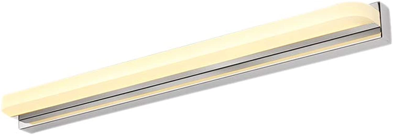 J.SUNUN Spiegellampen, LED-Spiegelleuchte Badleuchte aus Acryl und Edelstahl ohne Schalter 220V (Farbe   Warmes Licht, Gre   72cm 16W)