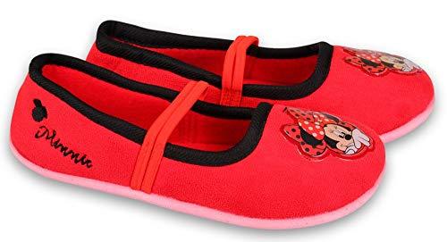Coole-Fun-T-Shirts Minnie Mouse Mädchen Hausschuhe Pantoffeln Ballet Schuhe rutschfeste Sohle weich gepolstert ROT GR.24