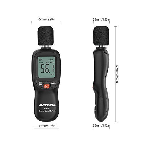 Schallpegelmesser Meterk Schallpegel Messgerät Messung Range 30-130dB - 3