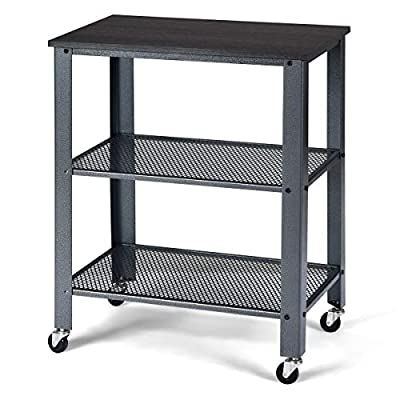 Giantex Microwave Cart Wooden 3-Tier W/Storage Shelf and Rolling Casters, Industrial Style Metal Frame for Kitchen, Living Room Accent Furniture for Living Room Rolling Serving Cart from Giantex