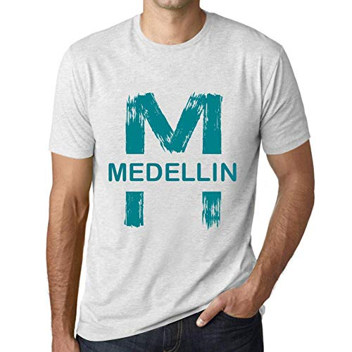 One in the City Hombre Camiseta Vintage T-Shirt Gráfico Letter M Countries and Cities Medellin Blanco Moteado