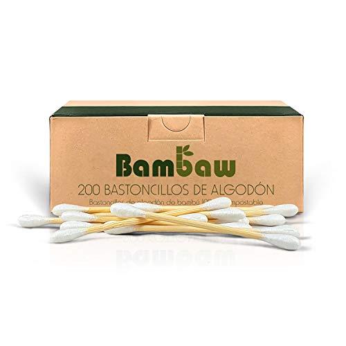 Bastoncillos para Oídos de Bambú | Bastoncillos Ecológicos | Palillos Limpiadores de Oídos | Bastoncillos de Madera | Biodegradables | Bote Dispensador Ecológico |200 Unidades | Bambaw