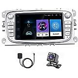 Android Autoradio para Ford Focus Mondeo Kuga Galaxy C-MAX S-MAX,Hikity Bluetooth Radio Coche GPS Navegación Estéreo para Automóvil Pantalla Táctil De 7 Pulgadas WiFi FM Mirror Link (Blanco)