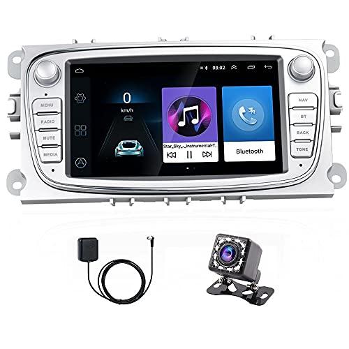 Hikity Android Auto Radio Fit 7 pollici per Ford Focus Mondeo Kuga Galaxy C-MAX S-MAX Touchscreen Auto Stereo con GPS WIFI FM Bluetooth Supporto Collegamento a specchio +Macchina fotografica di backup