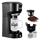 Single Serve Coffee Maker, Single Cup Coffee Maker for Most Capsule Pod Ground Coffee, Coffee Machine with Permanent Filter 6-14oz Reservoir One-Touch Button 1000W Fast Brew & Auto Shut Off, Black