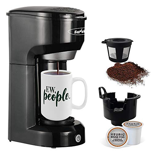 Single Serve Coffee Maker, K Cup Coffee Maker for Capsule Pod Ground Coffee, 1000W Single Cup Coffee Maker with Permanent Filter 6-14oz Reservoir One-Touch Button Fast Brew & Auto Shut Off, Black