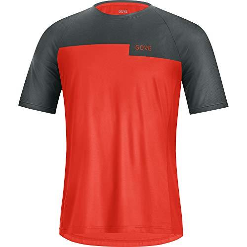 GORE WEAR Camiseta de manga corta Trail para hombre, L, Rojo fuego/Gris antracita