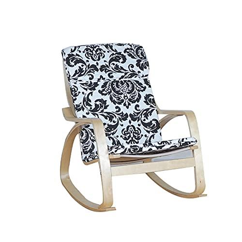 LIXIONG-sillón Mecedora, Acolchado Cojines Liso Balanceo Movimiento, Tumbona por Jardín Exterior Patio de Madera Base con Reposapiés, Fácil de Montar (Color : Floral, Size : A)