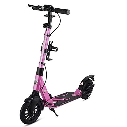 patinetes Scooter, con Un Cómodo Diseño De Absorción De Choques Trasero Y Trasero, Adecuado para Varias Carreteras, Plegables Y Fáciles De Almacenar.(Color:Rosado)