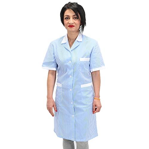 Petersabitidalavoro Camici da Lavoro Donna Imprese di Pulizia Operaia Domestica Cameriera AI Piani (L, Righe Azzurre)