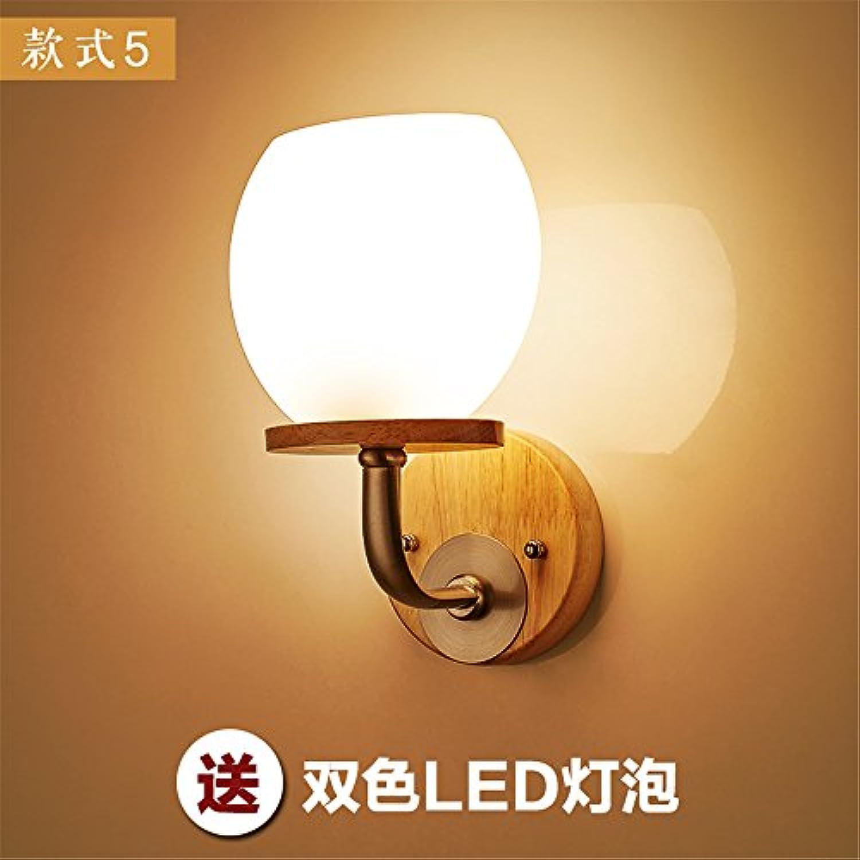 StiefelU LED Wandleuchte nach oben und unten Wandleuchten Nachttischlampe gang Treppe Schlafzimmer Schlafzimmer, Holz kunst Glas LED Wandleuchte