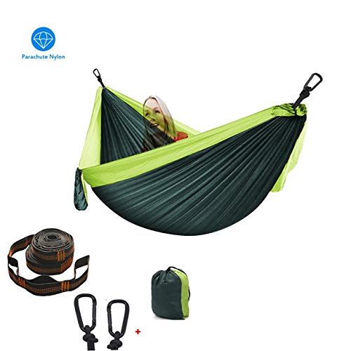 XXJF Hamaca Ultraligera Máx 300kg Capacidad De Carga, Hamaca Que Acampa Nylon De Paracaídas De Secado Rápido Ideal para Viaje Jardín, Camping (Color : Dark Green+Light Green, tamaño : 260 * 140cm)