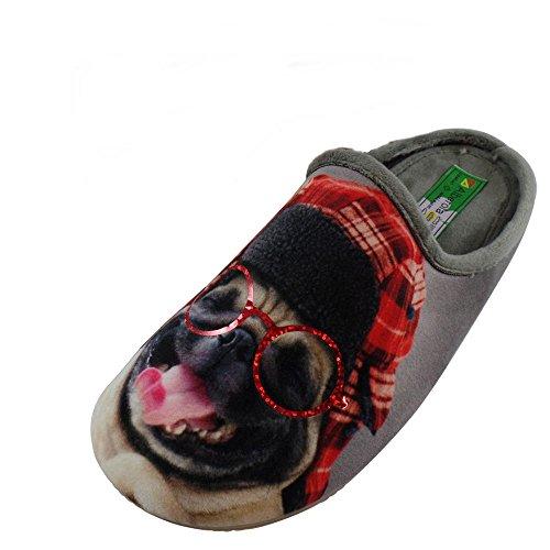 ALBEROLA Hausschuh Pantoffel Hund Bulldogge Brille A11937A - EU 36-42 (37)