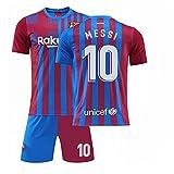 GDYJP Camiseta de fútbol Personalizada 21-22 Camiseta de Barcelona Versión Correcta Messi No. 10 Uniforme de fútbol Traje (Color : Home 10 Star, Tamaño : S)