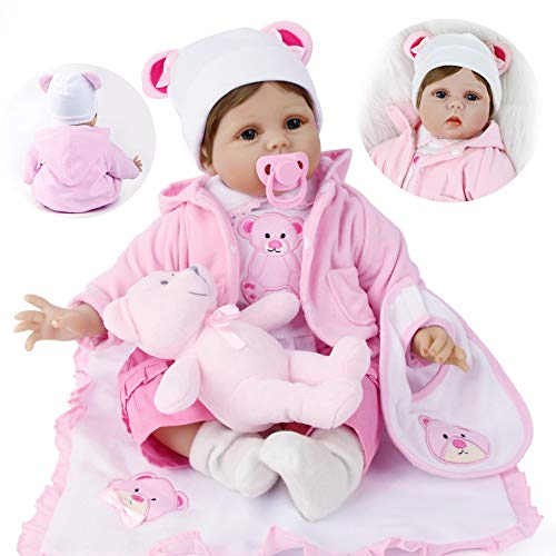 ZIYIUI Lebensecht Reborn Babypuppen 22inch 55cm Handgemachte Weiche Silikon Vinyl Reborn Baby Puppe Mädchen Magnetisch Mund Reborn Toddler Spielzeug Weihnachts Geschenk