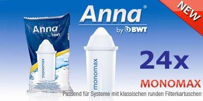 24 Anna Monomax Wasserfilter Kartuschen passend auch für Brita Classic, PearlCo