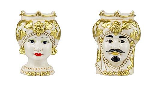 ILAB Coppia teste di moro regina e re in ceramica siciliana harmony decorata a mano oro,altezza 25cm,soprammobili in ceramica,ceramica siciliana