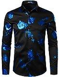 ZEROYAA Mens Hipster 3D Rose Deign Slim Fit Long Sleeve Button Up Dress Shirts ZZCL22 Black Royal Blue X-Large