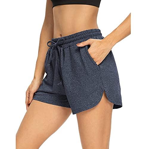 Modas Pantalones Cortos de Cintura Alta para Mujer Pantalon Deportivo de Color Sólido con Bolsillos Pantalones Deportes con Cintura Elástica Ajustable Shorts de Playa Casual Suelto y Transpirable