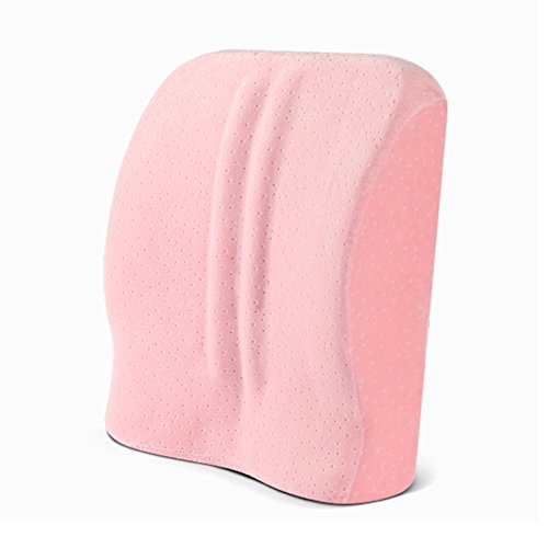 Cushins Lumbar Support Pillow Back Cushion Memory Foam Cushion Ergonomic Back Support Pillow Best Lower Back Support Pillow Cushion Orthopedic Back Pillow GAOFENG (Color : Pink Bamboo Charcoal)