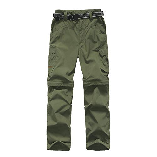 ADANIKI Boy's Casual Outdoor Quick Dry Pants Kids' Cargo Pant UPF 50+ Waterproof Hiking Climbing Convertible Youth Trousers (Army Green, 11-12 Years)