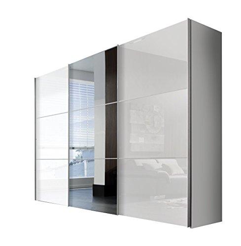 Express Möbel Schwebetürenschrank 3-türig Bianco Weiß Hochglanz mit Spiegel BxHxT 300x216x68 in verschiedenen Farben und Größen