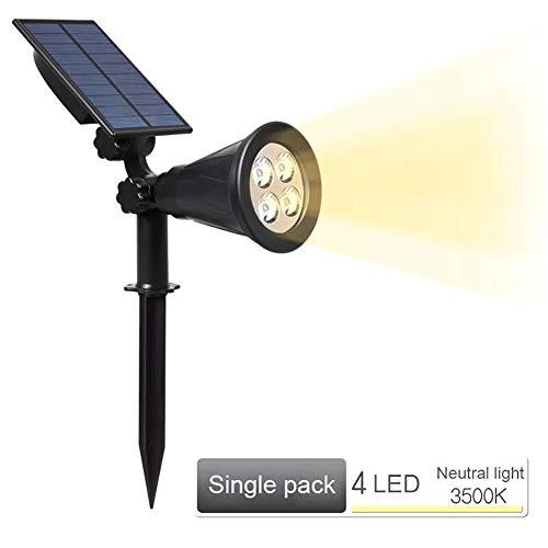 NZHK Luz Solar Al Aire Libre, Paisaje Solar Focos IP65 Resistente Al Agua Auto on/Off 2-En-1 Ajustable 4 LED De Iluminación De La Decoración Muro De Seguridad,Warm