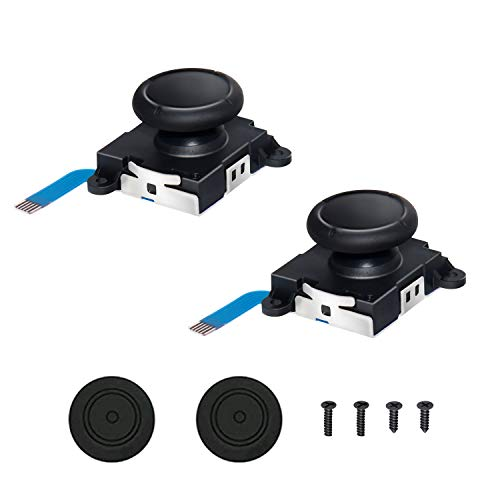 3D Replacement Joystick Analog, Thumb Stick for Nintendo Switch [Original], 2-Pack Professional Analog Joystick Replacement with 2pcs Thumb Stick Caps & Screws