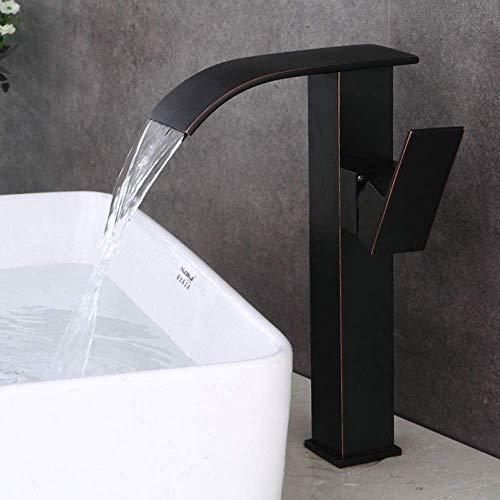 BXU-BG Grifo lavabo grifos cascada baño bronce antiguo grifo sola manija mezclador cubierta d agua grifos