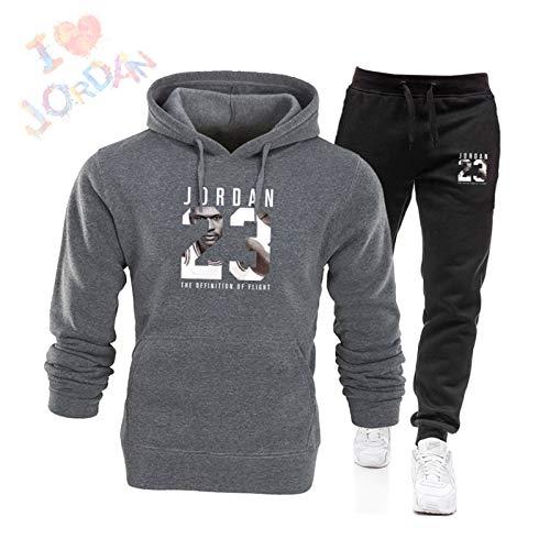 Hombres 2 Piezas Conjuntos Jordan #23 Chándal Conjunto de Hombres Otoño Invierno Sudaderas Sudaderas Sudadera+Cordón Pantalones de Entrenamiento de Baloncesto Ropa Deportiva Traje Gris Oscuro A-XXXL
