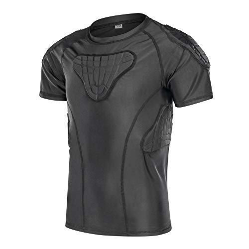 DGXINJUN Youth Kids Padded Compression Shirt Chest Rib Protector Shirt for Football Baseball