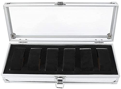 Regarder la boîte de rangement 1PC 6/12 grille de grille d'aluminium RECTANGE RECTANDER GRISTERIEILLES DISPOSIBLES DE STOCKAGE Boîtier Boîtier Nouveau Mini Storage Boîte de montre-6 grille iterat