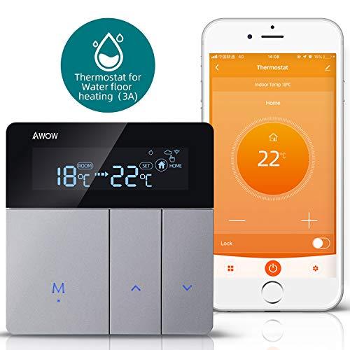 AWOW Smart Home Thermostate WiFi Temperaturregler Wandthermostat Intelligente Heizungssteuerung für Fussbodenheizung Wasser Heizung Kompatibel Alexa,Google Assistant,APP Smart Life(Wasser Heizung,3A)