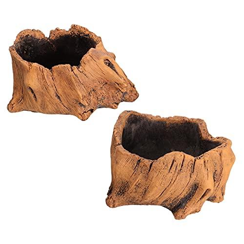 Yardwe 2Pcs Ceppo di Legno Vaso di Fiori Cemento Log Fioriere Decorativa di Simulazione Albero Tronco Vaso di Fiori di Cactus Succulente Bonsai Contenitore per Casa