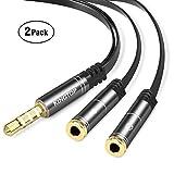 [2 Pack] KINGTOP Cable Adaptador de Audio Combinado de 3.5mm para PS4, Xbox One, Tableta, Teléfono móvil, Cascos Auriculares para Juegos de PC y Nueva Versión para Computadora Portátil