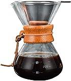 Verter sobre la cafetera con Vidrio de borosilicato Filtro Permanente de Acero Inoxidable Reutilizable Cafetera Manual con gotero de café con Funda de Madera marrón Clara Real