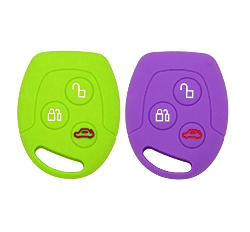 YLC 2 Piezas Silicona Funda para Llave de Coche Car Key Cover para Ford Mondeo Festiva Fiesta Focus 3 Botones(Verde + Morado)