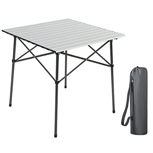 EVER ADVANCED Campingtisch Klapptisch mit Aluminium Tischplatte faltbar klappbar tragbar mit Tragetasche 70 x 70cm für Camping Garten Party Picknick Balkon
