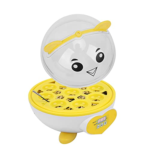01 Incubadora De Huevos para El Hogar, Incubadora para Incubar Huevos, Incubadora De 9 Huevos, Incubadora Semiautomática para Huevos, Profesional para Granja Doméstica(Amarillo)