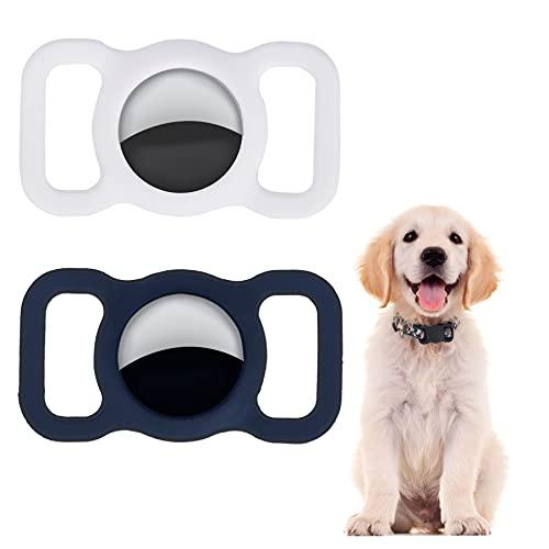 LADES Funda protectora de silicona para mascotas, 2 unidades, compatible con AirTag impermeable ajustable Airtag Dog collar Cat Dog Tracker Airtags accesorios