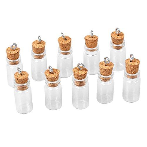 SODIAL(R) 10 Stk. Mini Leere Glas Korken Flaschen Anhaenger Charme Flaeschchen Moechten Flaschen Klar
