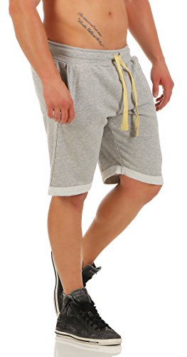 Gennadi Hoppe Herrren Kurze Shorts by leichte Sommershorts, Kurze Hose, Bermuda, Baumwollshorts, Shorts, Sweatpant Shorts Sweat Shorts auch für Jungen,hellgrau,X-Large
