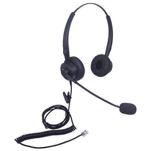 Xintronics Auriculares Teléfono Fijo Binaural RJ9, Cascos con Cancelación de Ruido Micrófono para Yealink SIP T19P T20P T21P T22P T26P T28P Avaya 1608 1616 9608G 9641G(X20G1)